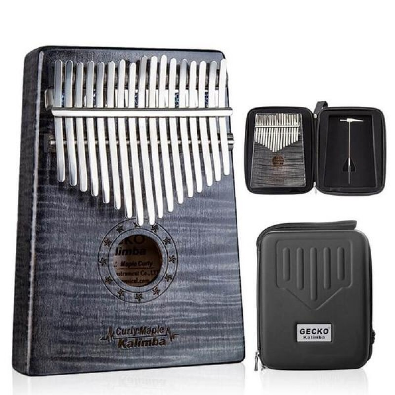 GECKO Solid Curly Maple Kalimba | Black Color